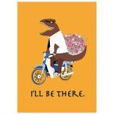 今行くよ、恐竜、花束、バラ、自転車